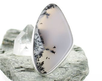 Silver ring with dendrite Agate. Size 7 . Natural stone. Gemstone Ring. Silver Ring. Dendrite Agate jewels. Ring size P 1/2. apsarasV