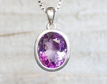 Pendentif Améthyste Argent. Pierre naturelle. Violet.Minimaliste.Pendentif pierre gemme.Bijoux Améthyste.Pendentif solitaire.ApsarasV