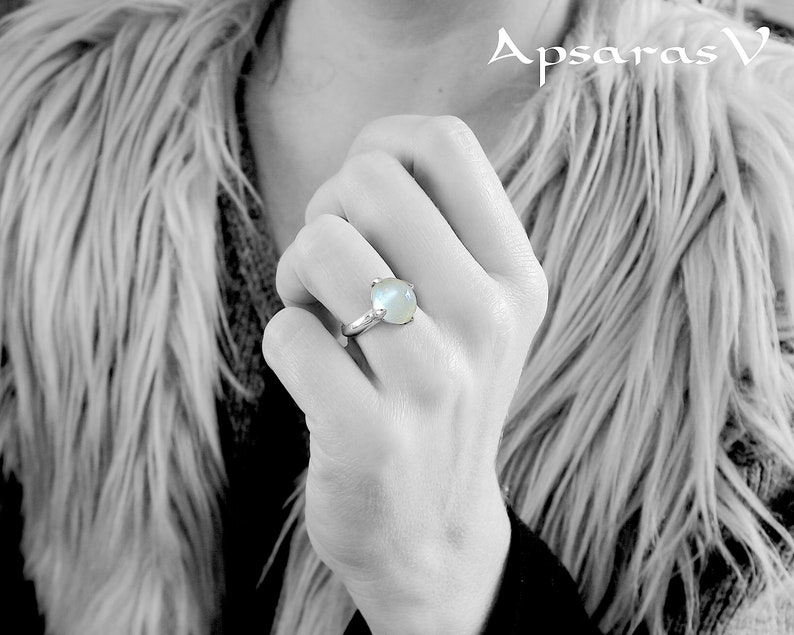 sterling silver grey beige natural stone with lunar reflection size 6.75 Moonstone ring one of a kind handmade quality made jewelry.