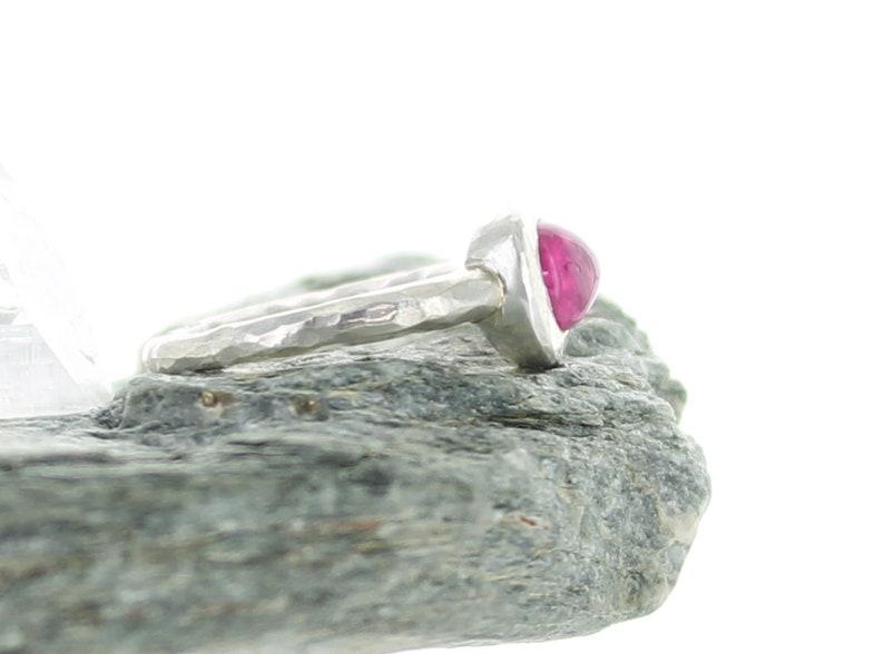 Natural Stone Boho ring Silver ring Pink Tourmaline Rubellite Candy pink Gemstone band ring Ring size O 12  UK Size: 7.5 ApsarasV