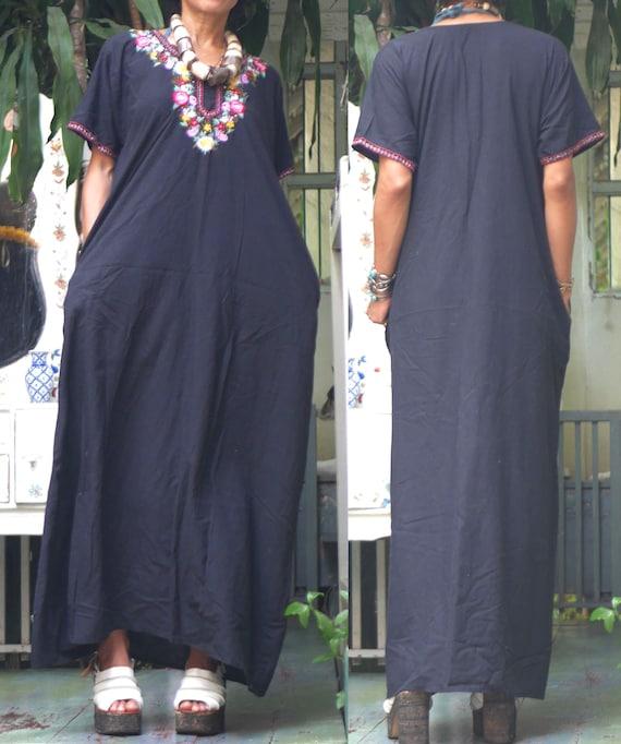 ETHNIC VINTAGE black bohemain Indian cotton embroi