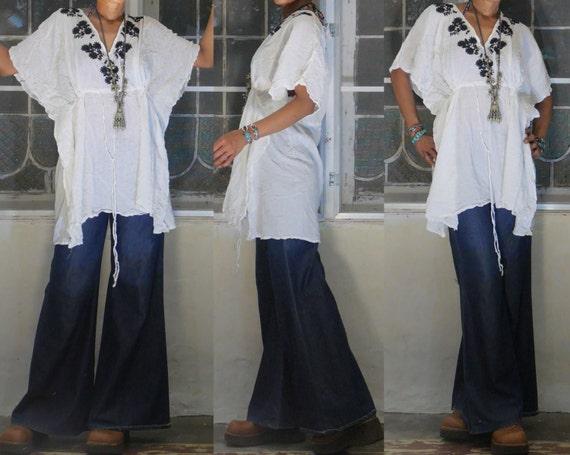 ETHNIC vintage 1970'S Indian white cotton gauze OL