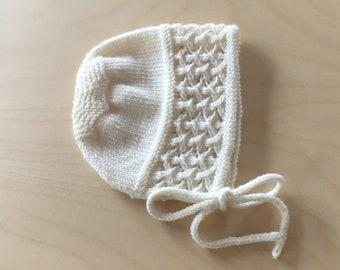 Vintage Baby Bonnet hand knit merino wool Newborn 0-3 mths