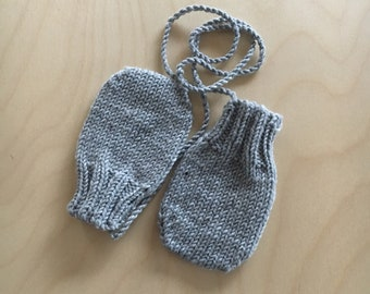 CLASSIC MITTENS hand knitted merino wool baby toddler mittens with ribbed band and stay on tie