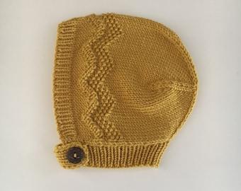 ZIG ZAG Mustard baby bonnet hand knitted merino wool baby hat