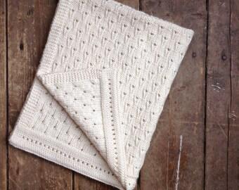 Baby Blanket Natural hand knitted merino wool