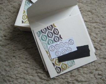 Thank You Cards. Handmade Cards. Patterned Paper Cards. Recycled Paper Cards. Set of 10.