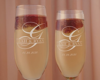 Personalized Champagne Stemware Toasting Flutes Engraved with Monogram Design Options (Set of Two)