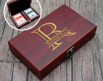 Personalized Card & Dice Set with Engraved Case. Choose from Our Custom Monogram Options and Enter Your Information for Engraving.