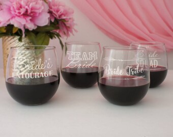 Personalized Stemless Wine Glasses Engraved with Bridal Party Designs (Choose Type of Glass Red or White Wine)