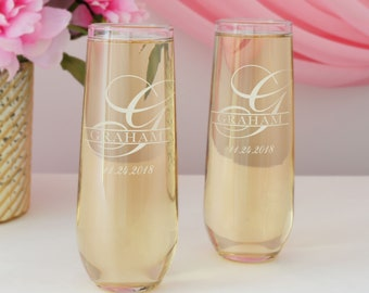 Personalized Stemless Champagne Toasting Flutes Engraved with Monogram Design Options (Set of Two)