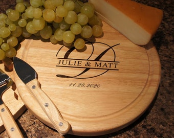 Personalized Cheese Board Set with Four Cheese Tools Engraved with Family Monogram