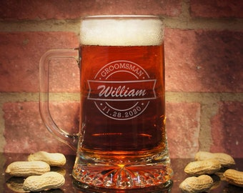 Personalized Beer Mugs Engraved with Wedding Party Design Options ( Choice of Two Mug Sizes )