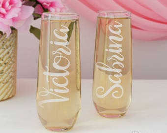 Personalized Stemless Champagne Toasting Flutes for the Wedding Party with Bridal Monogram Design Options (Each) Engraved Glass Flutes