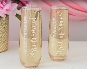 Will You Be My Bridesmaid Personalized Stemless Champagne Toasting Flutes with Bridal Monogram Design Options (Each) Engraved Glass Flutes