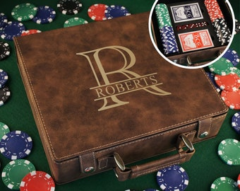 Personalized Poker Set including 100 Poker Chips, Dice, & Cards. Case Engraved with Overlapping Monogram Design Option