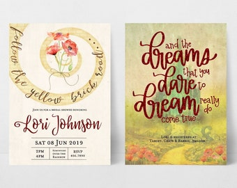 Wizard of Oz Invitation | Yellow Brick Road Invitation | Bridal Shower Invitations | Wizard of Oz Birthday Invitations | Baby Shower