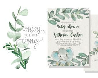 Sweet Little Peanut Baby Shower Invitation | Gender Neutral Baby Shower |  Watercolor Elephant & Watercolor Eucalyptus | Customize Me