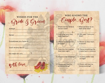 Wizard of Oz Party Games | Yellow Brick Road | Bridal Shower Party Games | Wizard of Oz Bride and Groom | Wishes for the Bride and Groom
