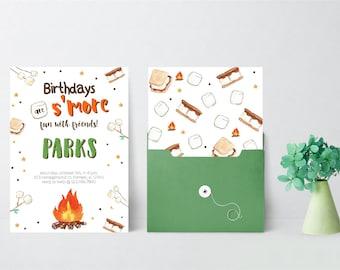 S'more Fun Birthday Invitation | S'mores Camp Fall Leaves | Fall Festival Invitations | Camping Invitations