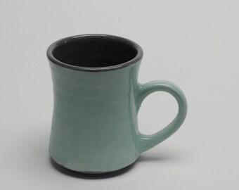 Turquoise and Gray Porcelain Ceramic Mug