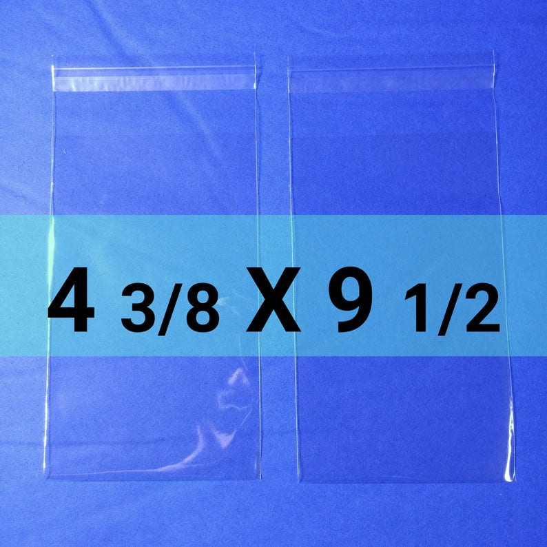 50 Clear Poly Cello Bag 4 38 x 9 12 inch Self Sealable OPP Product Bag Acid Free Clear Pastic Packaging