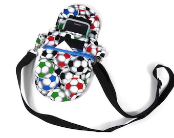 Soccer Crossbody purse for travel, Multi-color crossbody pouch,  passport purse, or small bag