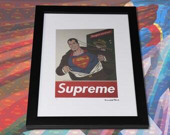f1111bd553be SUPREME SUPERMAN by Fairchild Paris 17/200 LTD Wall Framed Art 14 x 18