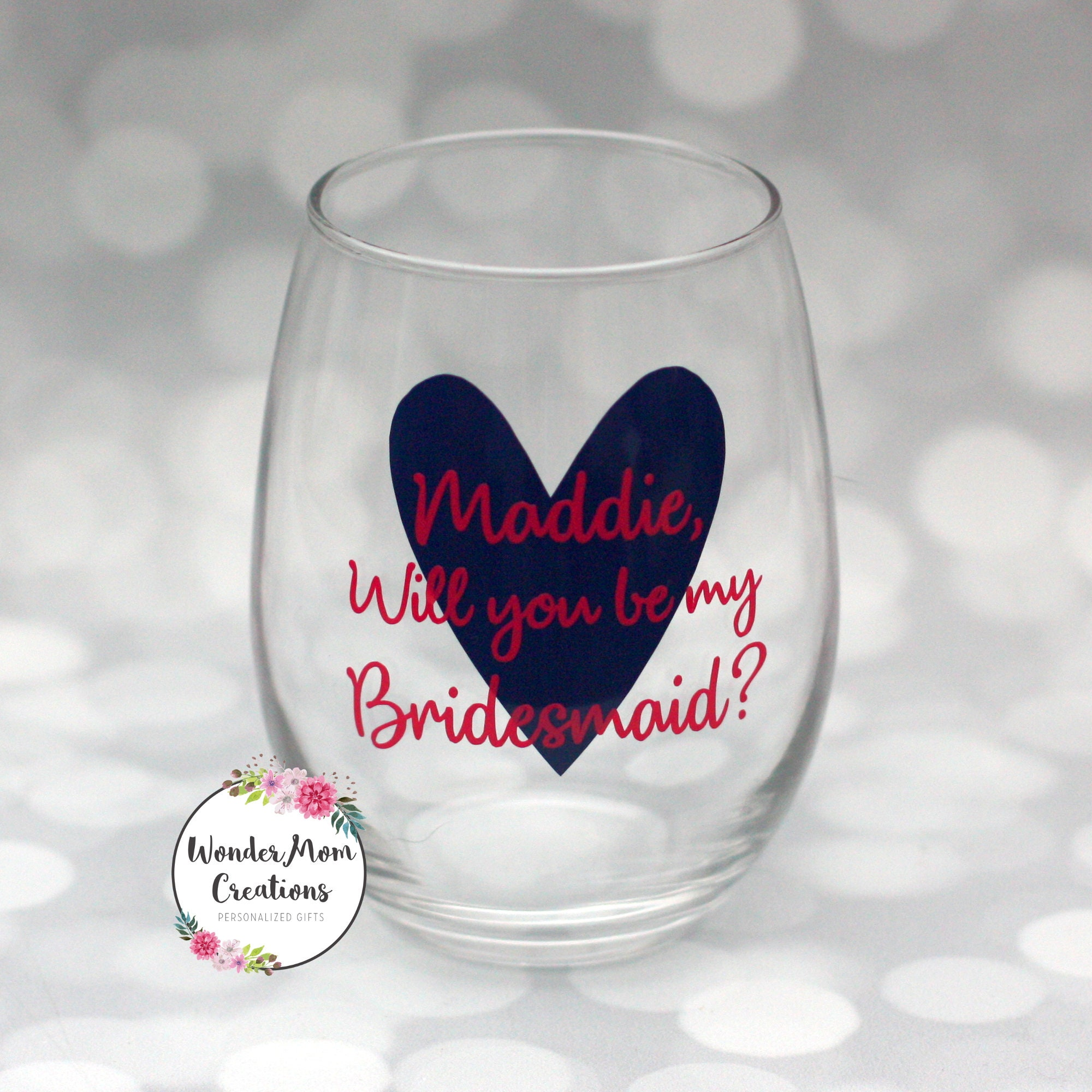9a311c5f0f2 Will you be my Bridesmaid Wine Glass Bridesmaid Proposal | Etsy