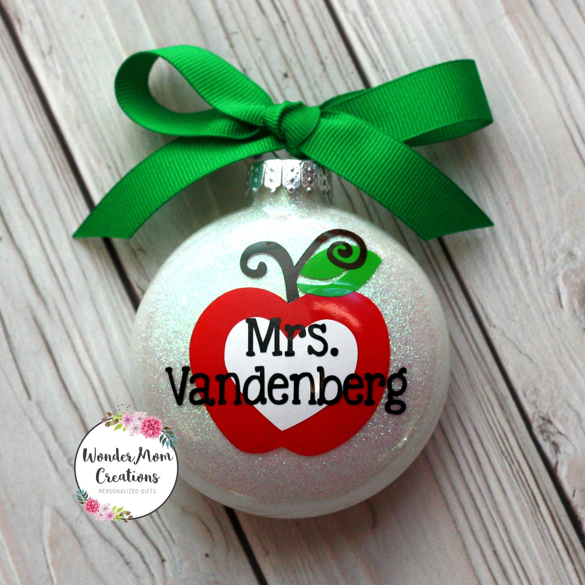 Teacher Personalized Ornament Teacher Apple Christmas | Etsy