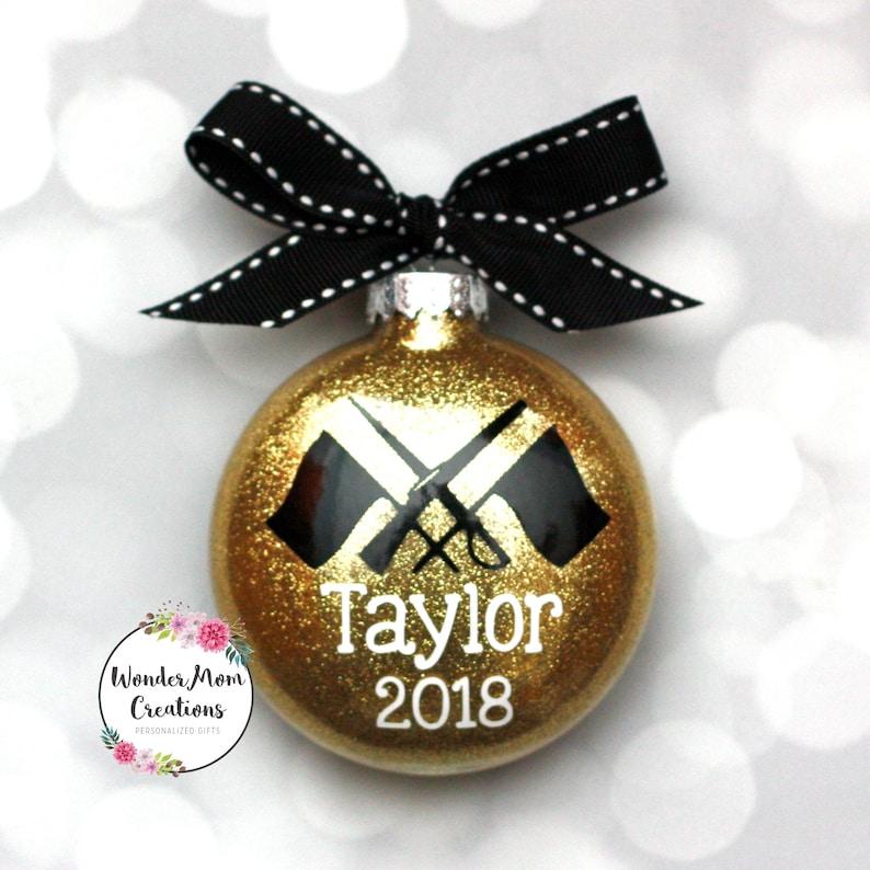 Color Guard Christmas Ornament; Flag Girl Rifle Christmas Ornament; Marching Band Winter Guard Personalized Ornament