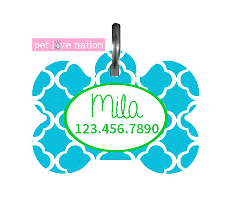 Preppy Quatrefoil Pet Tag With Name And Phone Number ID Tag Personalized Pet Tag Dog Tag