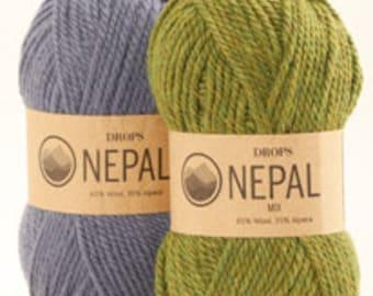 DROPS Nepal, Wool Alpaca yarn, Aran weight, knitting and crochetting