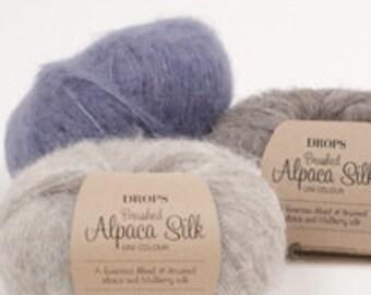 New, DROPS GARNSTUDIO Brushed Alpaca Silk, alpaca yarn, silk yarn, aran weight yarn, sweater yarns, low price yarn, best price yarn