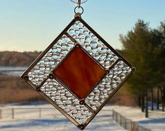 """Stained Glass Suncatcher 4"""" x 4"""" Amber/Red and Clear"""