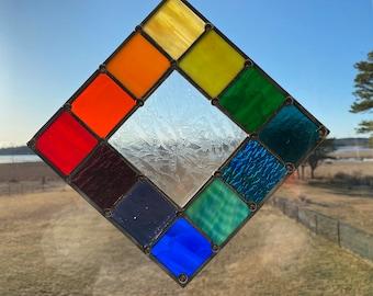 """Stained Glass Suncatcher 7.5"""" x 7.5"""" Rainbow"""