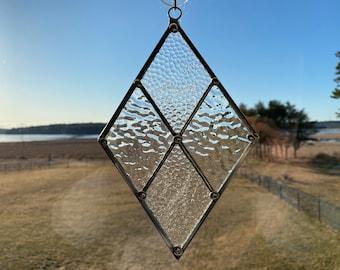 """Stained Glass Suncatcher 5"""" x 8"""" Clear Diamond"""