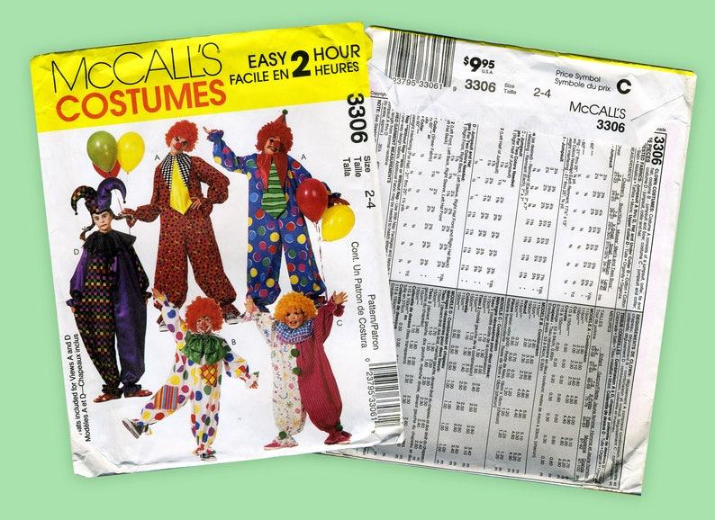Mccall S Costumes 3306 Clown Suit Vintage Pattern Sizes 2 4