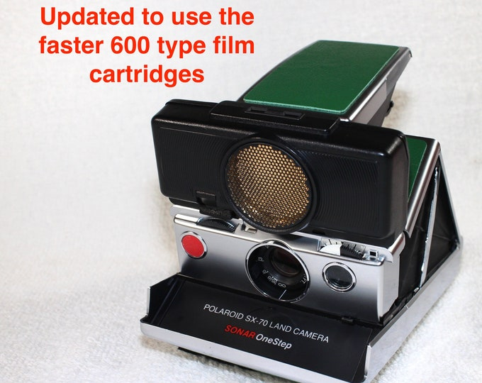 Rebuilt Polaroid SX70 Sonar Autofocus  - Updated to use 600 Film Cartridges and New Bright Green Skins