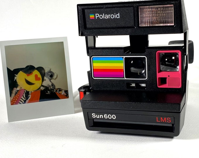 Polaroid Sun 600 with Upcycled pink and rainbow face - Refreshed, Cleaned and Tested
