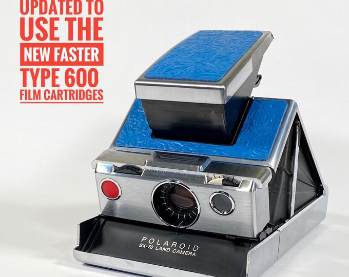 SX70 Model 1 - Rebuild, New Textured Blue Skins, Updated to use 600 Type film cartridges