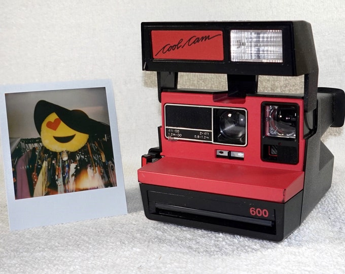 Polaroid Original Red CoolCam 600 Camera with Close Up - Tested, Repaired, Cleaned, now ready for fun