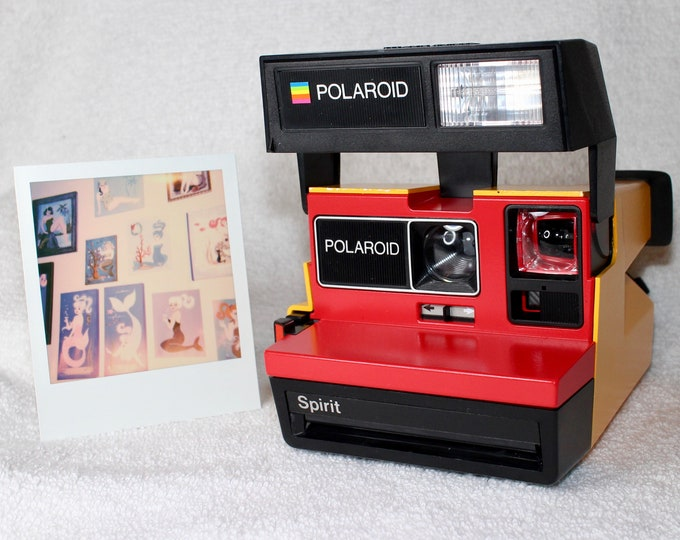 Upcycled Polaroid Spirit 600 with Red and Orange - Cleaned and Tested
