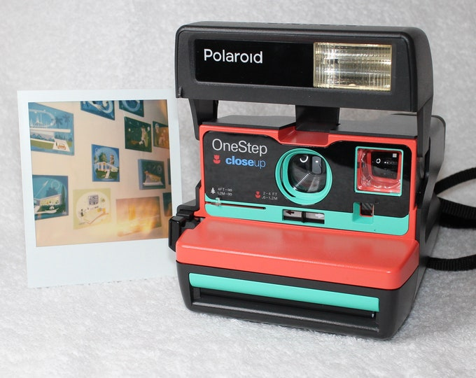 Coral and Retro Green Upcycled Polaroid 600 OneStep With Close Up And Flash Built-In