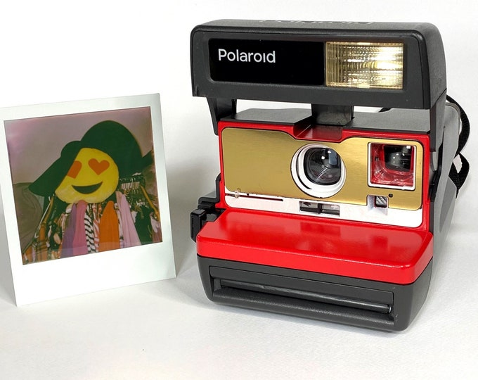 Upcycled Red, Brushed Gold and White Polaroid 600 OneStep With Close Up lens and Flash Built-In - Ready To Use