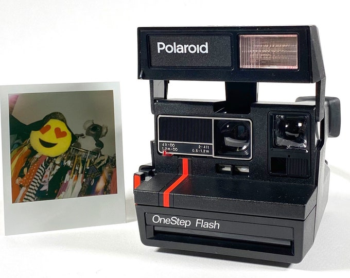 Original Red Stripe Polaroid OneStep Flash with Close Up - Works Great, Refreshed, Tested and Cleaned