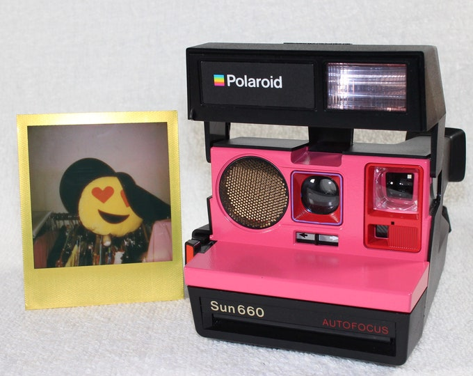 Pink and Red Upcycled Polaroid 660 Sonar Autofocus - Cleaned, Tested and Ready for Fun
