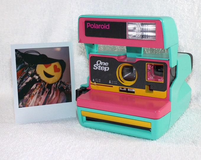 Custom Built Upcycled Retro Green, Pink and Yellow Polaroid 600 OneStep With Close Up And Flash Built-In