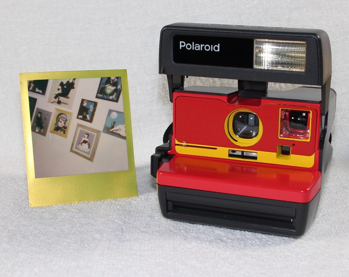 Upcycled Red and Yellow Polaroid 600 OneStep With Close Up And Flash Built-In - Ready To Use