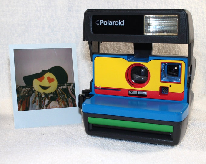 Ready For Fun! Upcycled Blue, Yellow, Red and Green Polaroid 600 OneStep